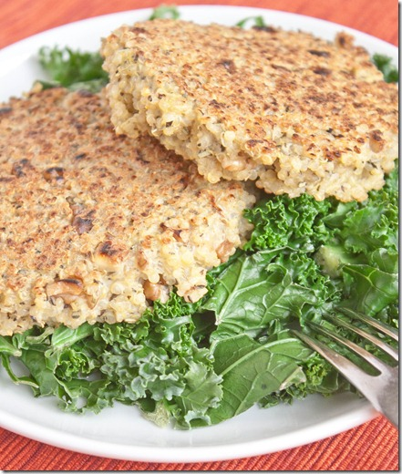 walnut-and-herb-quinoa-cakes-serving