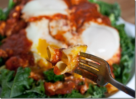 eggs-poached-in-tomato-sauce-forkfull
