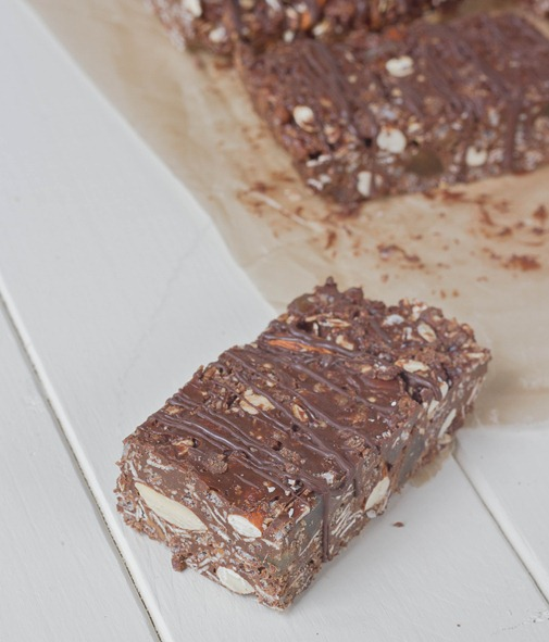 Chocolate Almond Granola Bars Serving