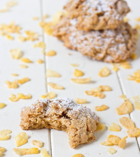Peanut Butter Corn Flakes Cookie Close-Up