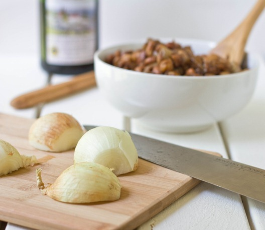 Caramelized Onion and Balsamic Vinegar Bean Salad Onions