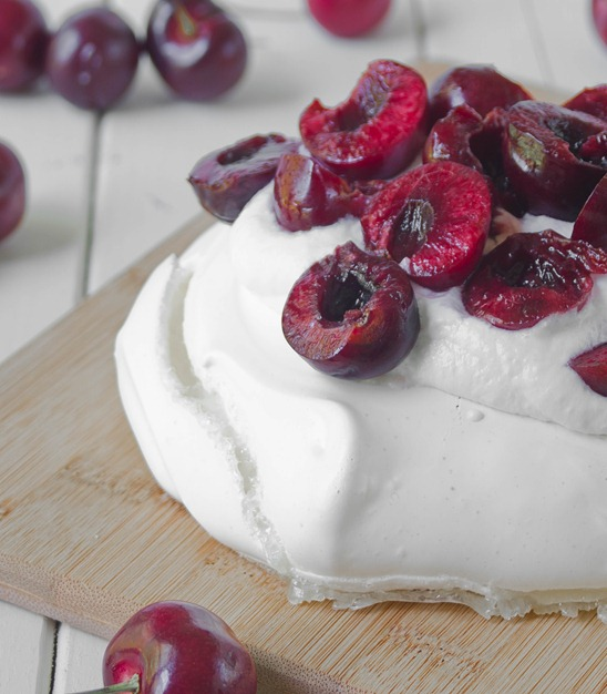 Cherry Coconut Pavlova Garnished