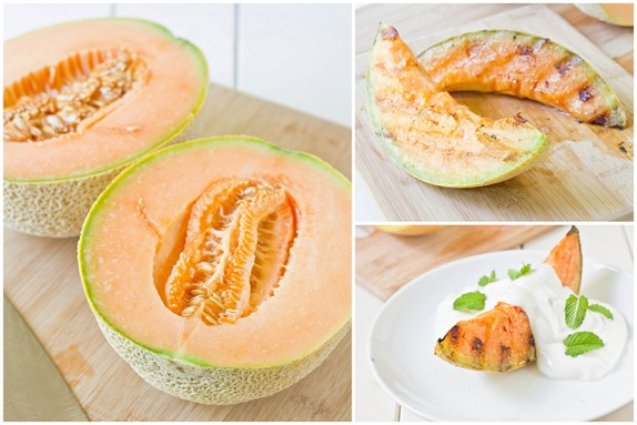 Grilled Cantaloupe With Yogurt And Mint Collage