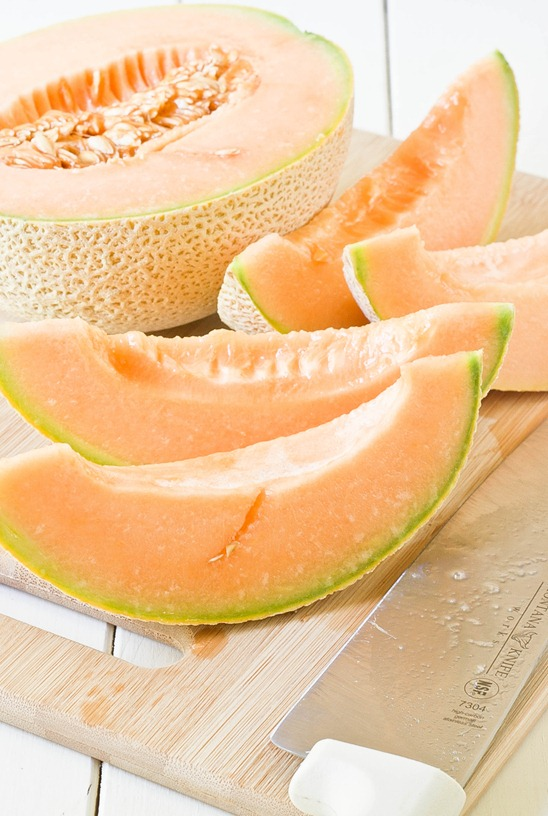 Grilled Cantaloupe With Yogurt And Mint Cut
