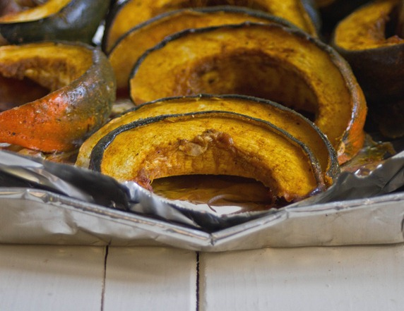 Maple Curry Acorn Squash Cooked