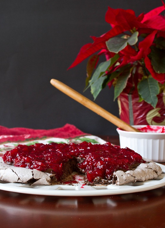 Chocolate Cranberry Pavlova