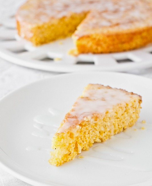 Lemon Cornmeal Cake Serving