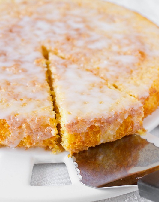 Lemon Cornmeal Cake Sliced
