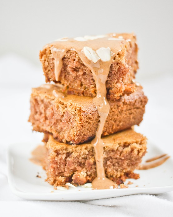 White Chocolate Almond Blondies Stack