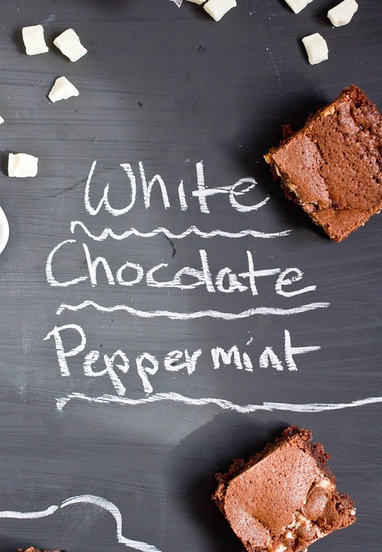 white chocolate peppermint brownies writing