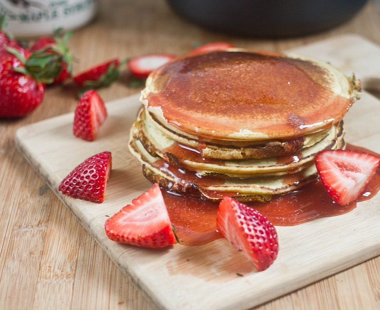 Homemade Strawberry Syrup Stack