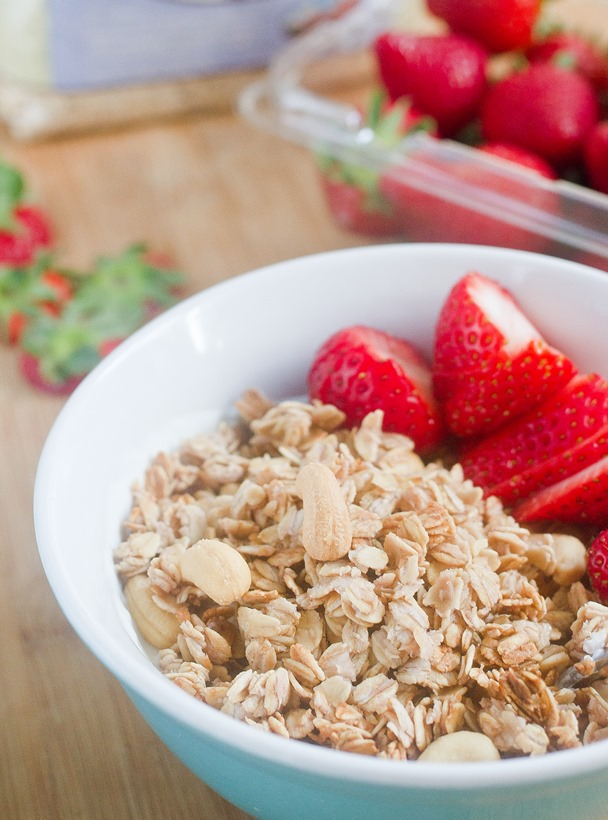Strawberry Cashew Granola Serving