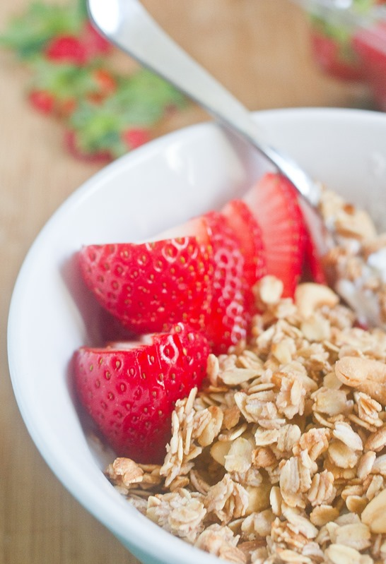 Strawberry Cashew Granola Strawberries