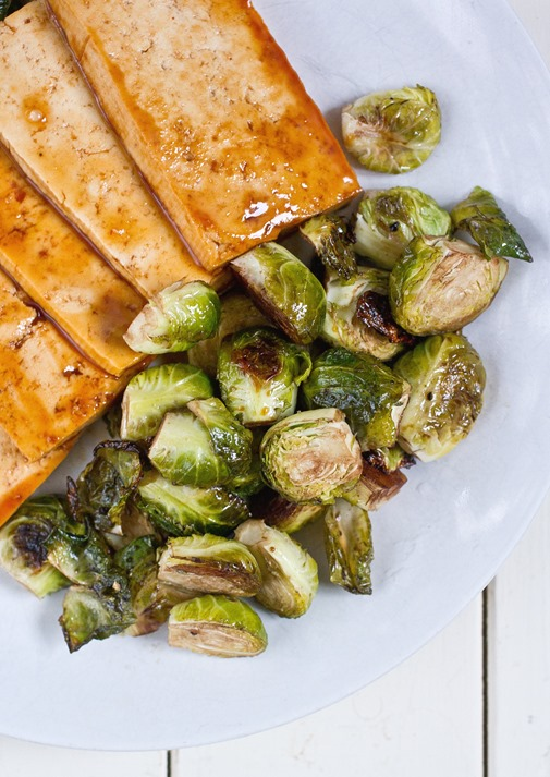 Roasted Balsamic Brussels Sprouts On Plate