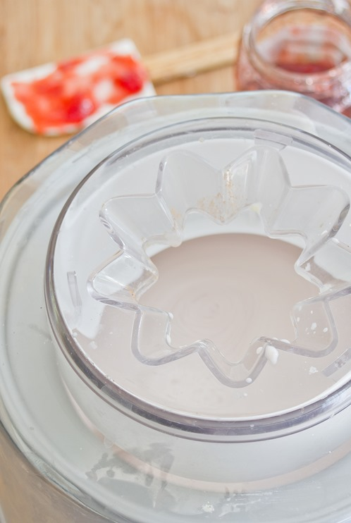 Strawberry Cheesecake Frozen Yogurt Churning